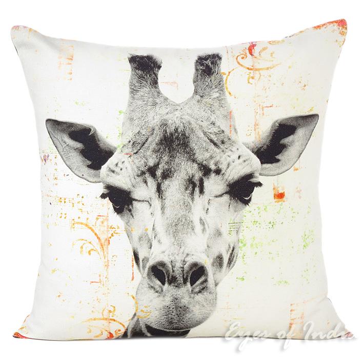 White Giraffe Colorful Decorative Boho Sofa Throw Pillow Bohemian Couch Cushion Cover 18 Printed Pillows Eyes Of India
