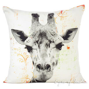 White Giraffe Colorful Decorative Boho Sofa Throw Pillow Bohemian Couch Cushion Cover - 18""