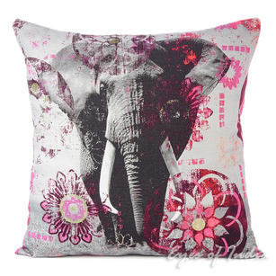Purple Elephant Colorful Decorative Bohemian Sofa Throw Pillow Boho Couch Cushion Cover - 18""