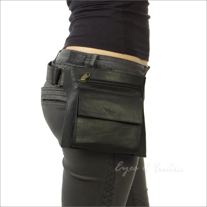 Black Leather Belt Waist Bum Hip Pouch Bag Utility Fanny Pack Pocket Travel Eyes of India
