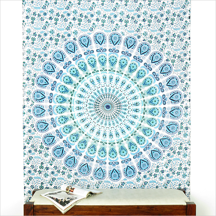 Twin Small Blue Mandala Boho Tapestry Wall Hanging Cotton Bedspread