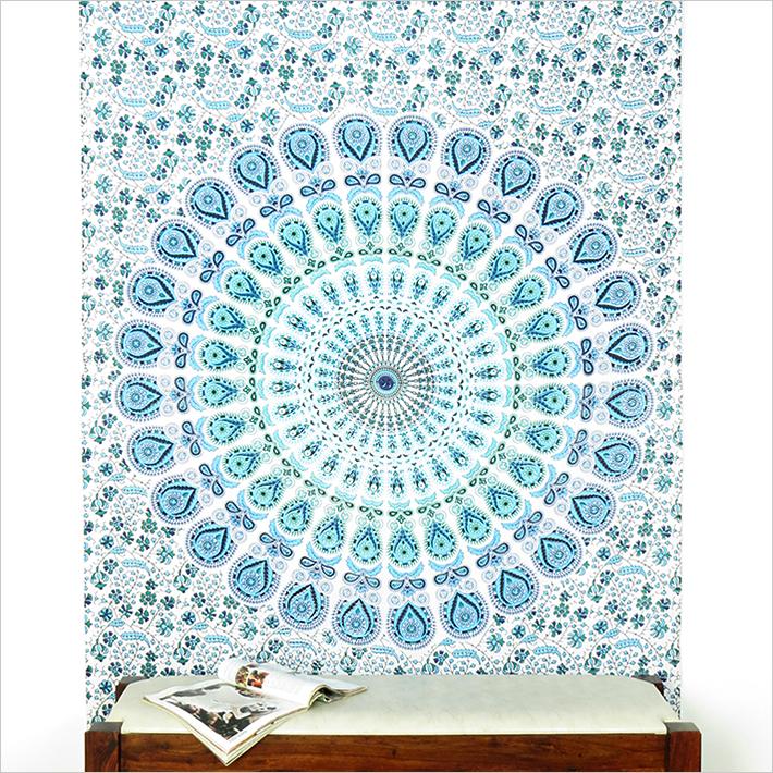 White Boho Mandala Elephant Tapestry Hippie Wall Hanging Bedspread - Small/Twin