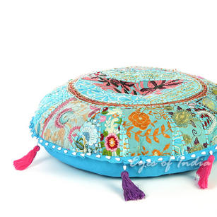 Light Blue Round Decorative Seating Boho Colorful Floor Meditation Cushion Pillow Throw Cover - 17""