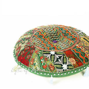 Olive Green Round Boho Bohemian Decorative Seating Throw Floor Meditation Cushion Pillow Cover - 17""