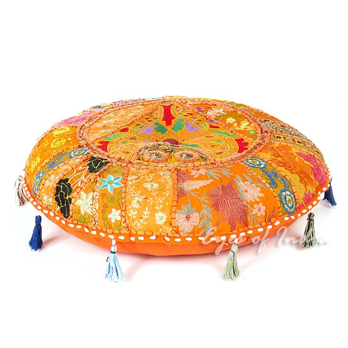 Orange Round Bohemian Decorative Seating Colorful Floor Cushion Boho Meditation Pillow Throw Cover - 17""