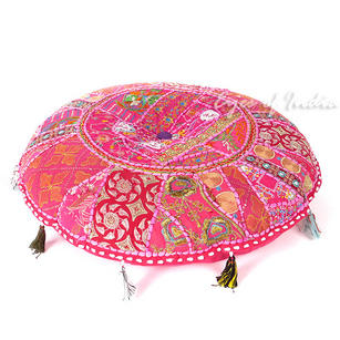 Pink Bohemian Round Decorative Seating Boho Colorful Floor Cushion Meditation Pillow Throw Cover - 17""