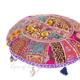 Purple Round Boho Bohemian Decorative Seating Throw Colorful Floor Meditation Cushion Pillow Cover - 17""