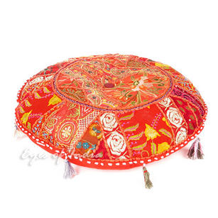 Red Round Bohemian Decorative Seating Boho Throw Floor Cushion Meditation Pillow Cover - 17""