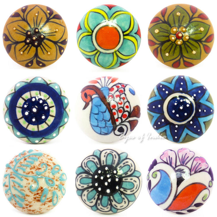 Blue /& White Flower Drawer Pull Door Knobs Cabinet Cupboard Large Selection