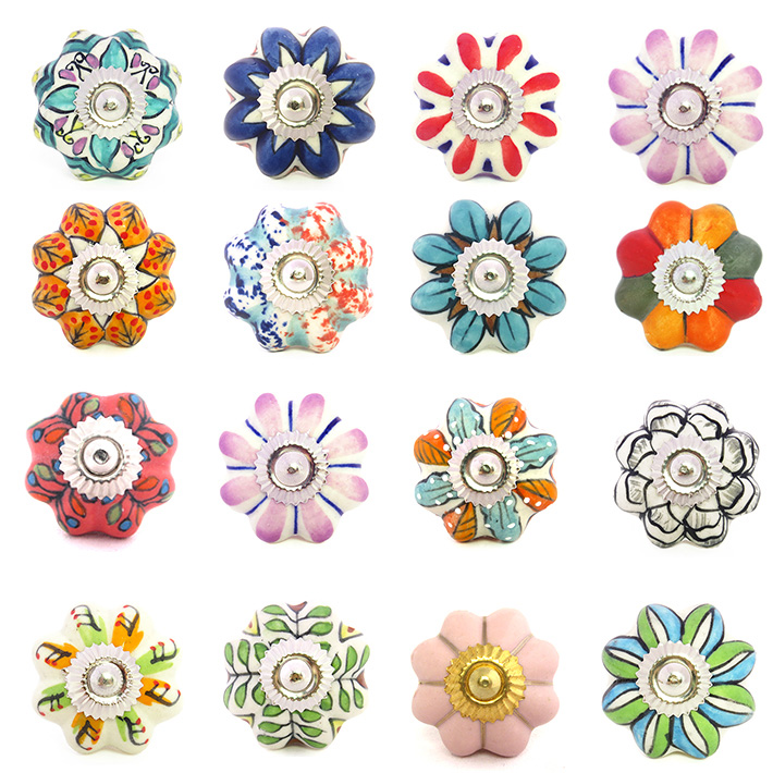 Decorative Drawer Cabinet Knobs, Hand Painted Ceramic Cabinet Knobs