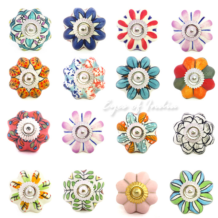 Orange & Red Floral Ceramic Knobs, all handmade in India ...