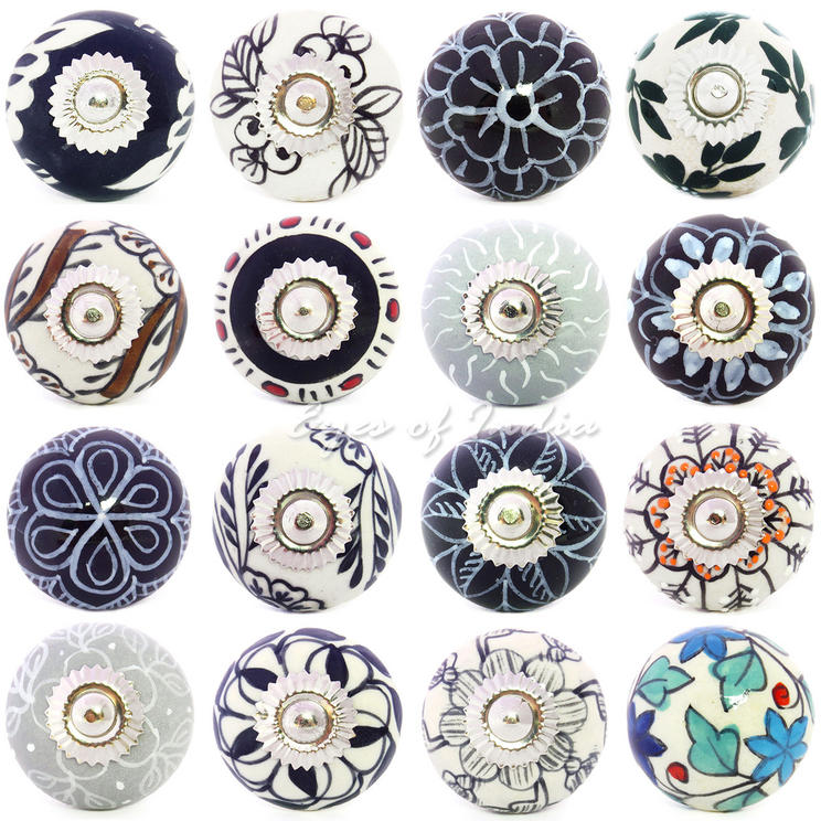 Black White and Grey Ceramic Cupboard Dresser Door Cabinet Knobs Pulls