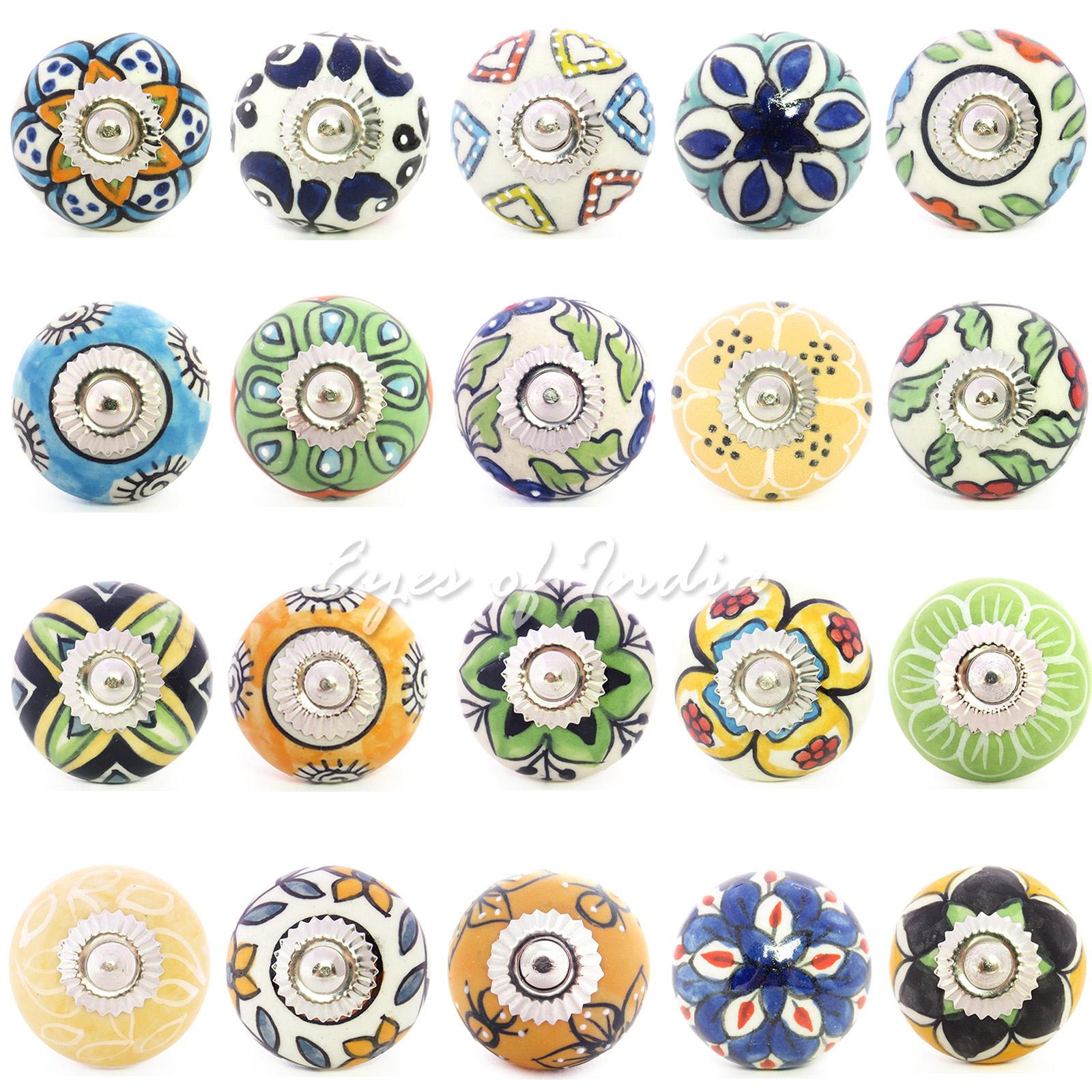 10 Knobs Multicolor Emboss Ceramic Knobs Hanmade Handpainted Kitchen Cabinet Drawer Knobs Cabinet Knobs Drawer Pulls Door Knobs Code 16