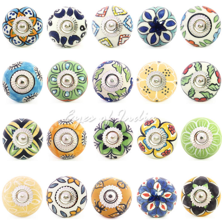 Yellow Green and Blue Ceramic Cupboard Cabinet Dresser Door Knobs Pulls