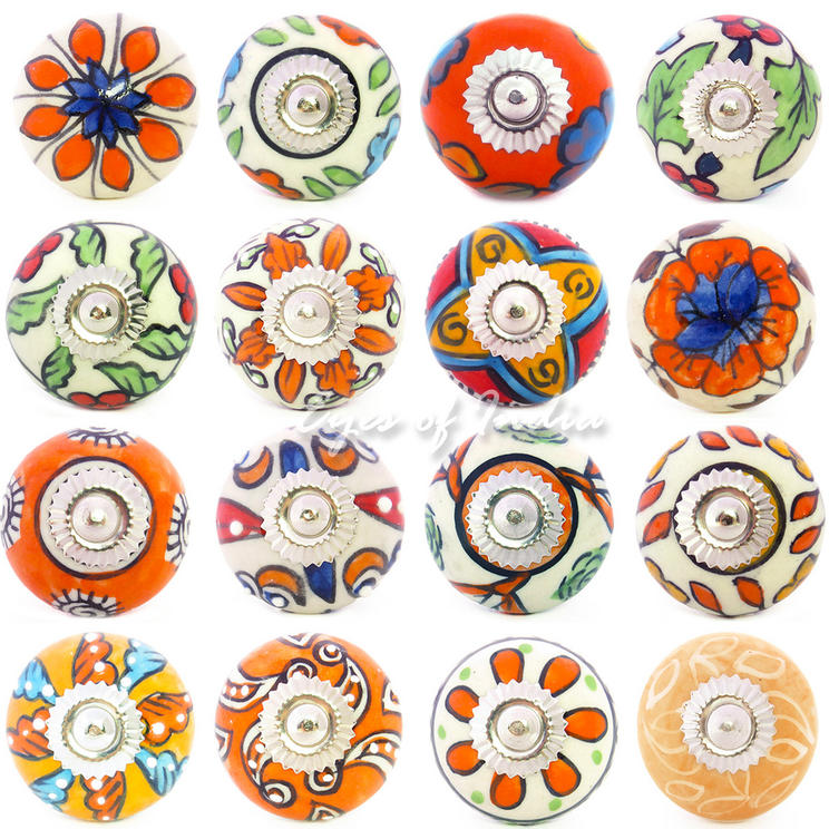 Orange Ceramic Cupboard Cabinet Door Dresser Decorative Shabby Chic Knobs