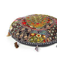 "Black Patchwork Round Boho Bohemian Throw Colorful Floor Seating Pillow Meditation Cushion Cover - 22"" 1"