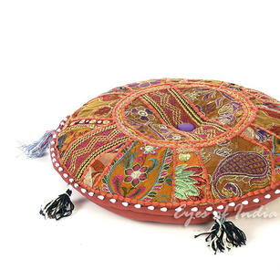Brown Patchwork Round Boho Bohemian Colorful Floor Seating Pillow Meditation Cushion Throw Cover - 22""
