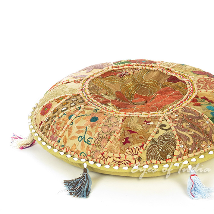 Light Brown Round Decorative Seating Boho Bohemian Floor Meditation Cushion Pillow Throw Cover - 22""