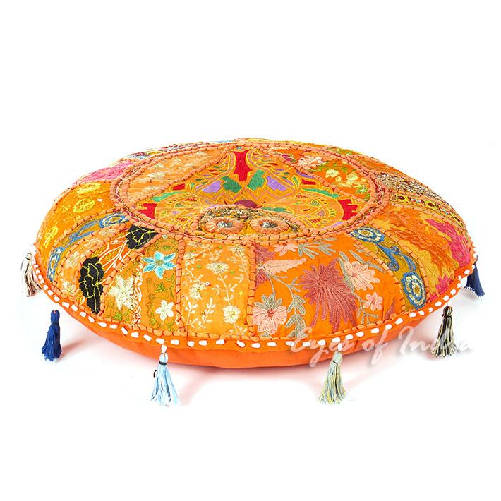 "Orange Round Boho Decorative Seating Bohemian Throw Floor Cushion Meditation Pillow Cover - 22"""