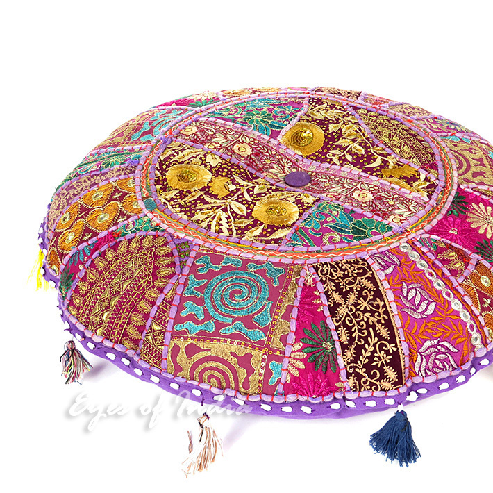 Purple Patchwork Round Boho Bohemian Throw Colorful Floor Seating Meditation Pillow Cushion Cover 22