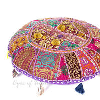 "Purple Patchwork Round Boho Bohemian Throw Colorful Floor Seating Meditation Pillow Cushion Cover - 22"" 1"
