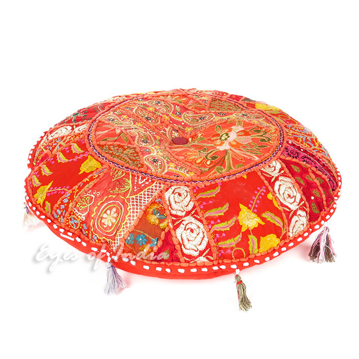 Red Boho Patchwork Round Decorative Seating Bohemian Colorful Floor Pillow Meditation Cushion Cover - 22""