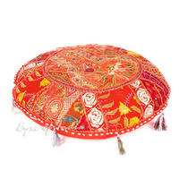 "Red Boho Patchwork Round Decorative Seating Bohemian Colorful Floor Pillow Meditation Cushion Cover - 22"" 1"