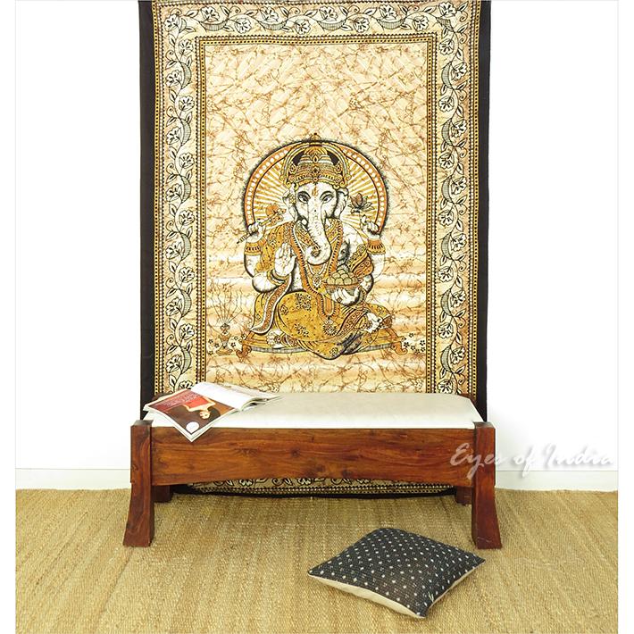 Elephant Hippie Mandala Ganesha Tapestry Boho Bedspread Wall Hanging - Small/Twin