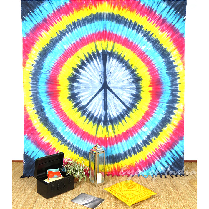Colorful Peace Sign Tie Dye Tapestry Bohemian Wall Hanging Bedspread - Queen/Double