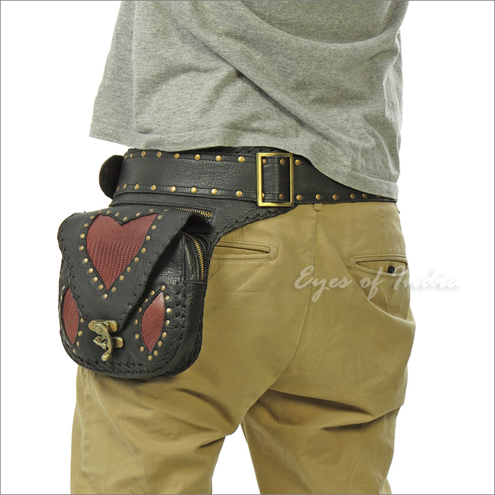 Leather Utility Pocket Belt Waist Hip Bag Travel Pouch