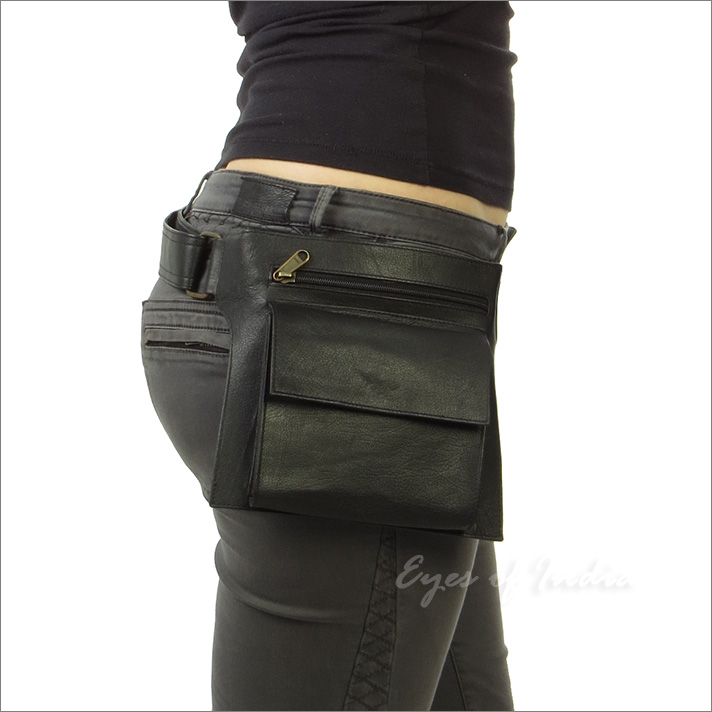Leather Waist Travel Pouch Hip Pocket Belt Bag Cross Body