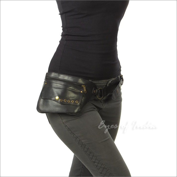 Black Leather Pocket Belt Bag Waist Hip Travel Pouch