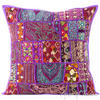 "Purple Patchwork Colorful Decorative Boho Bohemian Pillow Couch Cushion Sofa Throw Cover - 20"" 1"