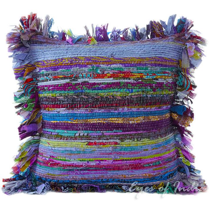 """Blue Chindi Throw Pillow Couch Sofa Cushion Boho Rag Rug Bohemian Cover - 16"""""""