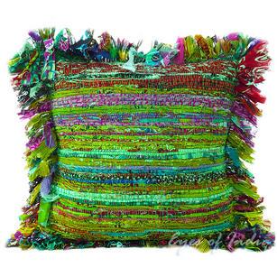 """Green Chindi Throw Pillow Couch Sofa Cushion Boho Rag Rug Bohemian Cover - 16"""""""