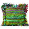 "Green Chindi Colorful Throw Pillow Couch Sofa Cushion Boho Rag Rug Bohemian Cover - 16"" 1"