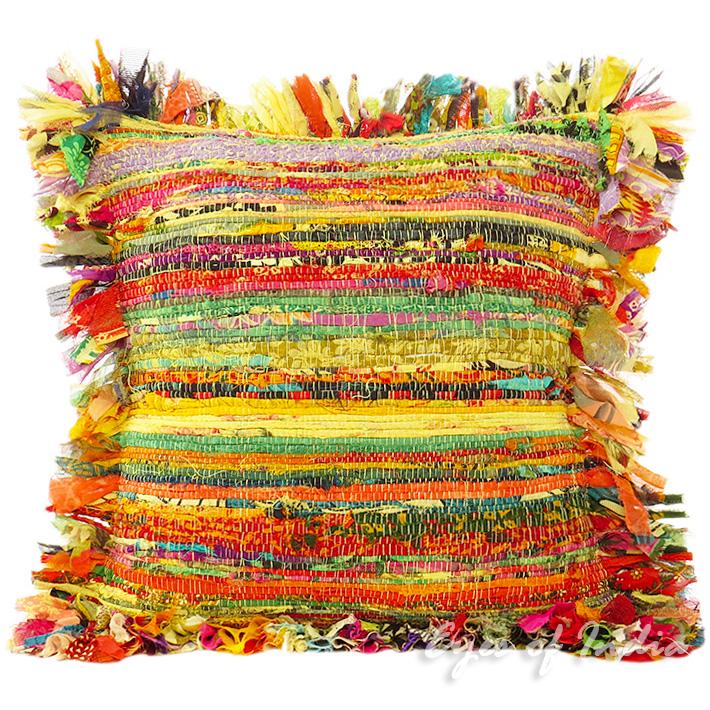 Yellow Chindi Colorful Decorative Boho Rag Rug Bohemian