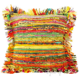 Yellow Chindi Colorful Decorative Boho Rag Rug Bohemian Sofa Throw Pillow Couch Cushion Cover - 16""