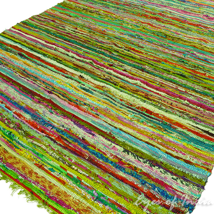 Green colorful decorative chindi woven boho bohemian rag for Colorful rugs for sale