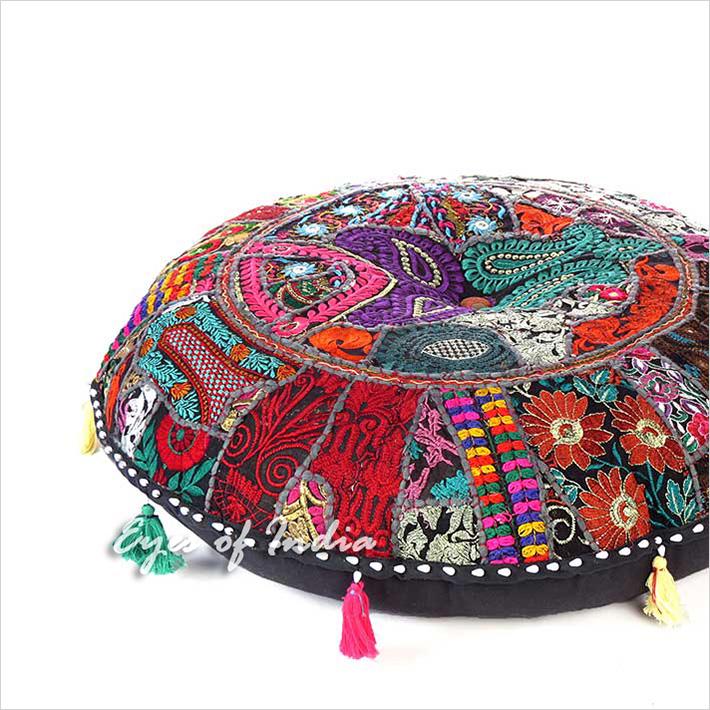 "Black Round Boho Decorative Seating Bohemian Colorful Floor Meditation Cushion Pillow Throw Cover - 28"""