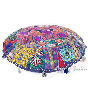 Blue Boho Round Patchwork Bohemian Colorful Floor Seating Meditation Cushion Pillow Throw Cover - 28""