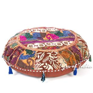 Brown Bohemian Patchwork Round Boho Colorful Floor Seating Pillow Meditation Cushion Throw Cover - 28""