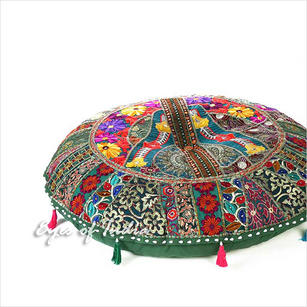 Green Boho Round Patchwork bohemian Floor Seating Meditation Pillow Cushion Throw Cover - 28""