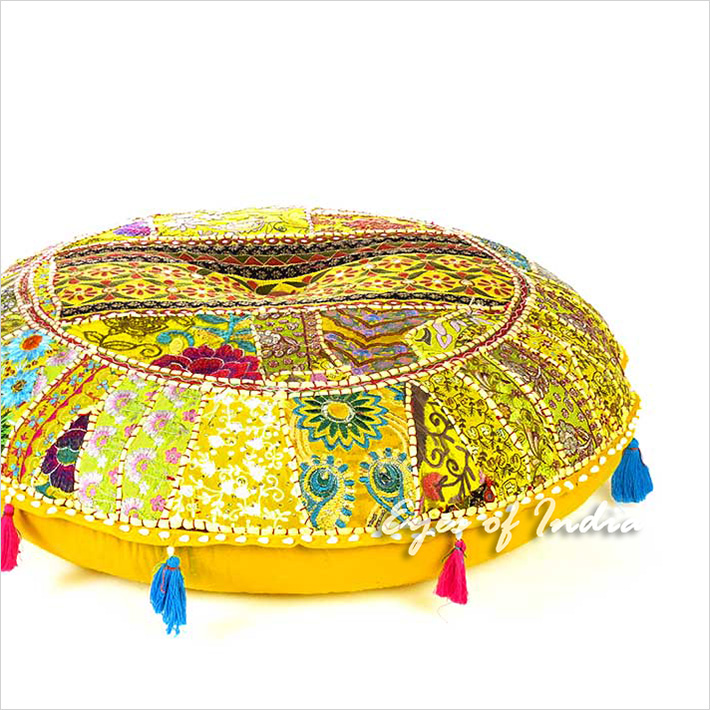 Yellow Round Boho Decorative Seating Colorful Floor Cushion bohemian Meditation Pillow Throw Cover - 28""