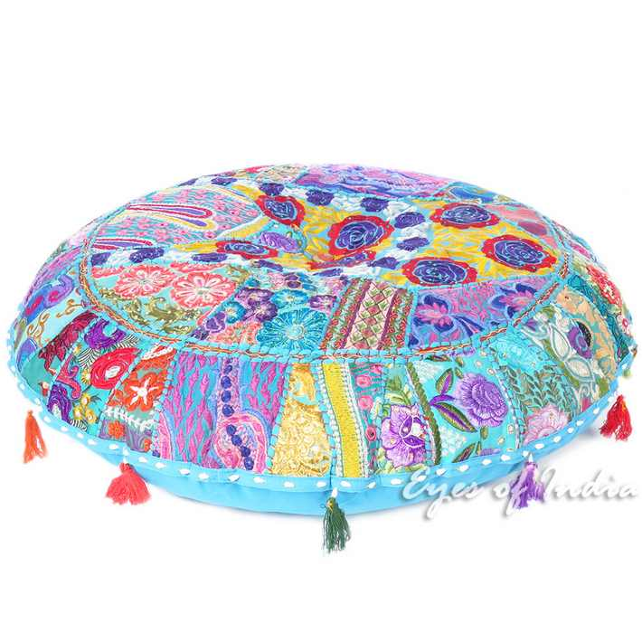 Light Blue Round Colorful Boho Bohemian Patchwork Floor Seating Cushion Throw Cover - 28""