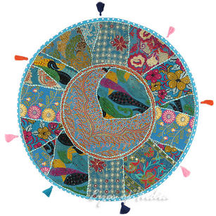 """Light Blue Round Colorful Boho Bohemian Patchwork Floor Seating Cushion Throw Cover - 28"""""""