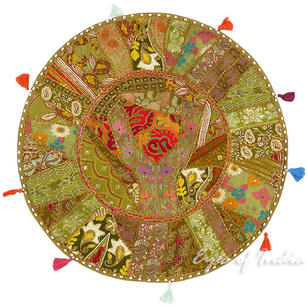 Light Brown Boho Patchwork Round Colorful Floor Seating Pillow Meditation Cushion Throw Cover - 28""