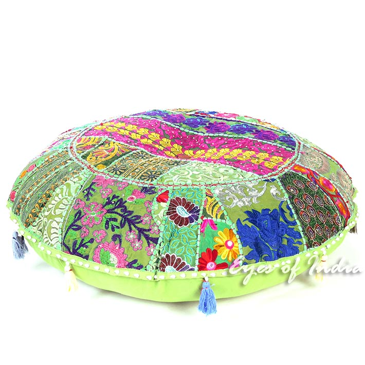 Light Green Round Patchwork Colorful Floor Seating Pillow Boho Meditation Cushion Throw Cover - 28""