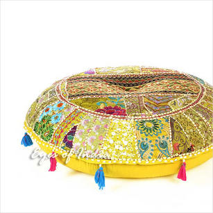 Bright Yellow Bohemian Patchwork Round Boho Floor Seating Meditation Pillow Cushion Throw Cover - 28""
