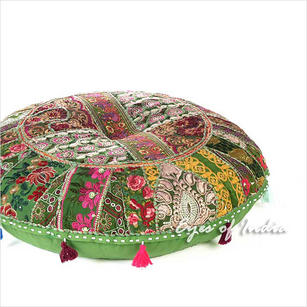 Olive Green Boho Round Patchwork Colorful Floor Seating Meditation Pillow Cushion Throw Cover - 28""